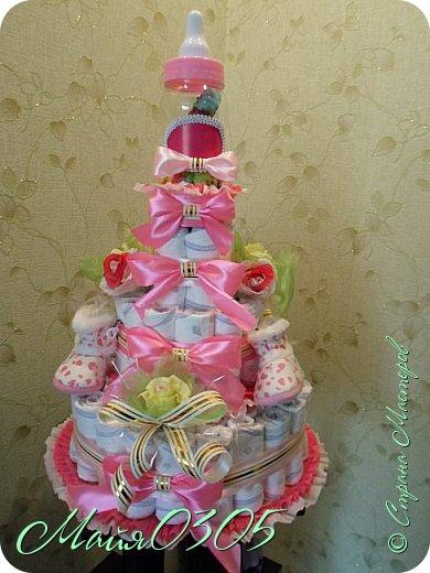 Размерчик тортика 85 см высотой и 55 в диаметре. Подарочек подарился любименькой , новорожденной племяшке и креснице...  фото 1