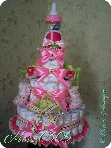 Размерчик тортика 85 см высотой и 55 в диаметре. Подарочек подарился любименькой , новорожденной племяшке и креснице...  фото 4
