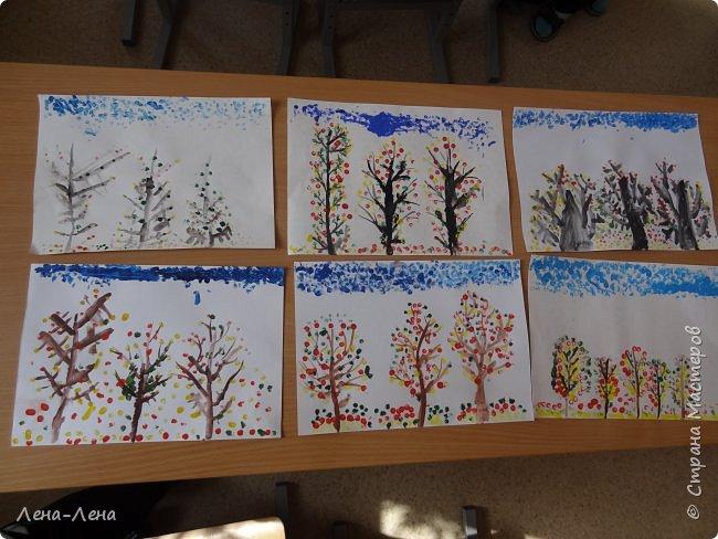 Вот такую осень нарисовали мои второклашки ватными палочками. фото 2