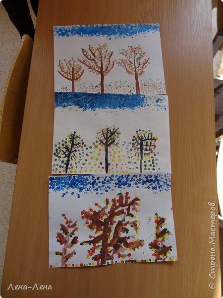 Вот такую осень нарисовали мои второклашки ватными палочками. фото 4