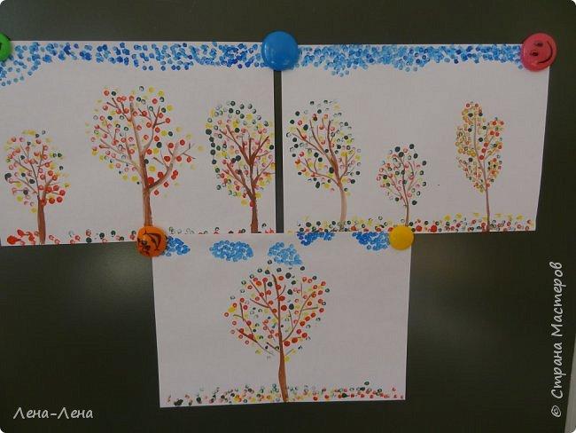 Вот такую осень нарисовали мои второклашки ватными палочками. фото 1