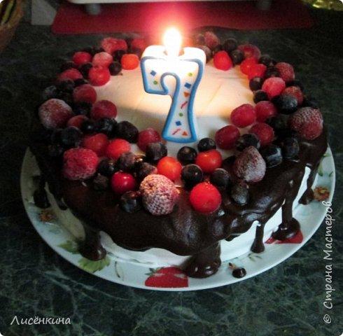 Здравствуйте дорогие мастера и мастерицы. Сегодня нашей дочке 7 месяцев и по этому случаю я испекла тортик. Бисквит шахматный и белковый крем, торт украшен глазурью и свежими ягодами.  фото 11