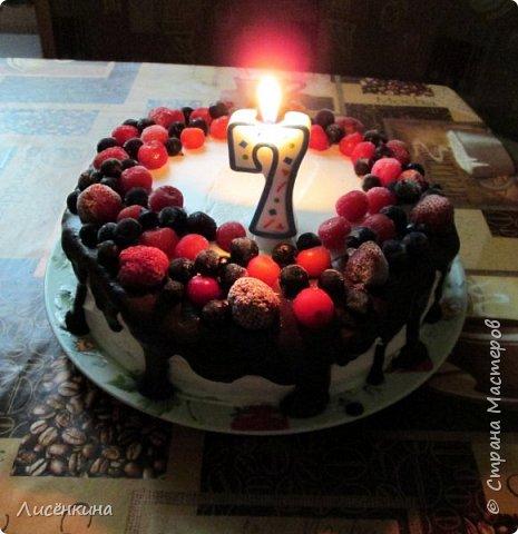 Здравствуйте дорогие мастера и мастерицы. Сегодня нашей дочке 7 месяцев и по этому случаю я испекла тортик. Бисквит шахматный и белковый крем, торт украшен глазурью и свежими ягодами.  фото 2