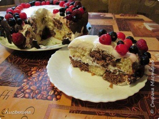 Здравствуйте дорогие мастера и мастерицы. Сегодня нашей дочке 7 месяцев и по этому случаю я испекла тортик. Бисквит шахматный и белковый крем, торт украшен глазурью и свежими ягодами.  фото 10