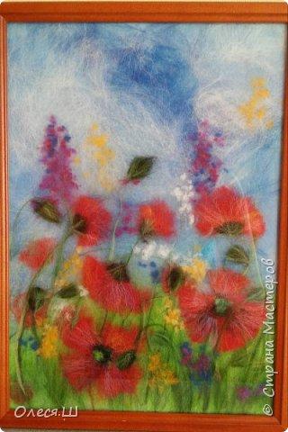 Здравствуйте! Меня буквально заразила и захватила техника живопись шерстью, что я наваяла еще несколько картин. Разделяю их по темам))) Цветы,цветы.... приятного просмотра! Ромашки и гвоздики. Солнечное настроение.... фото 3