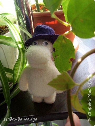 Вот такой чудик получился, добродушный муми-папа в шляпе из фетра. Рост у него всего 12 см, шерсти ушло совсем немного. фото 1