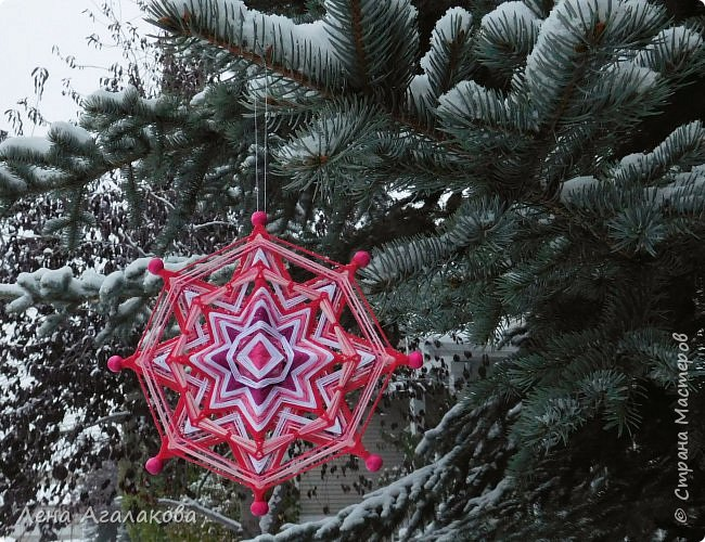Добрый день или вечер! Сплелось у меня еще три новых мандалы которые украсят мой дом и дома моих друзей на Новый год и Рождество ! Очень захватывает процесс плетения, мандалы все получаются разные, большое пространство для импровизации.  фото 6