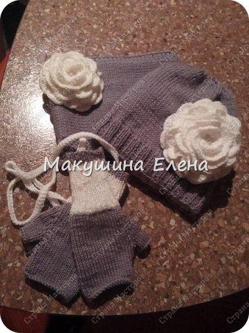 Шапочка, шарфик снуд и митенки фото 2