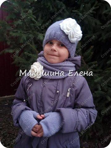 Шапочка, шарфик снуд и митенки фото 1
