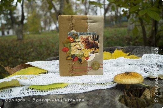"""Всем привет! И зимой, и летом....и осенью кото-блокнотики у меня всегда в особом почёте:)  В работе использовала 2 клиновых листа +  штампик """"Кошка"""" от магазина """"Арт-Кладовая"""".  фото 1"""