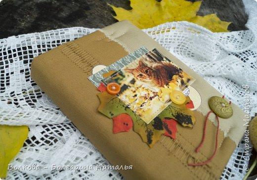 """Всем привет! И зимой, и летом....и осенью кото-блокнотики у меня всегда в особом почёте:)  В работе использовала 2 клиновых листа +  штампик """"Кошка"""" от магазина """"Арт-Кладовая"""".  фото 5"""