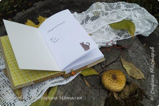 """Всем привет! И зимой, и летом....и осенью кото-блокнотики у меня всегда в особом почёте:)  В работе использовала 2 клиновых листа +  штампик """"Кошка"""" от магазина """"Арт-Кладовая"""".  фото 8"""