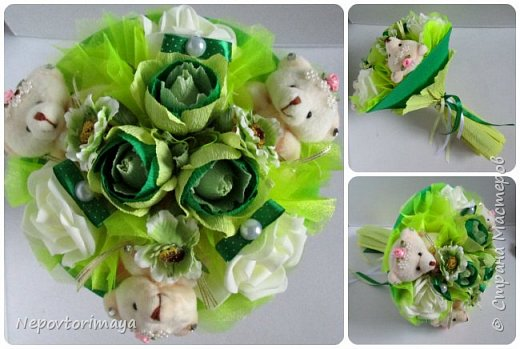 Букетами из мишек занимаюсь уже полгода, делаю их много в магазин и достаточно простенькие, иногда просят с цветами и конфетками, вот решила выложить, может кому пригодятся идеи того, как их можно комбинировать. фото 5