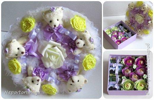Букетами из мишек занимаюсь уже полгода, делаю их много в магазин и достаточно простенькие, иногда просят с цветами и конфетками, вот решила выложить, может кому пригодятся идеи того, как их можно комбинировать. фото 3