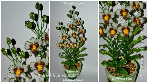Дорогие рукодельницы,представлю вам моих красоток.Орхидеи сделаны ко дню рождения моей мамы. Красную я уже показывала,а вот белая тут впервые))))  фото 3