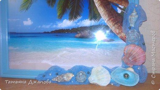 """Всем привет! У подруги намечался День рождения, вот хотела подарить картину-релакс """"кусочек рая"""". Очень люблю море и решила сделать в морской тематике. Глядя на эту картину хочется закрыть глаза, вытянуть ножки и представить себя там """"в раю""""...плеск волн  и звуки природы, белый песочек, кристально чистая и теплая вода, легкий ветерок, а вы лежите на берегу и наслаждаетесь всей этой красотой!!!! фото 2"""