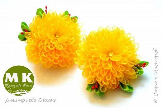 Мастер-класс в технике Канзаши. Сегодня в мастер-классе мы будем делать своими руками украшение для волос  - резинки для волос. Резинки на голову украшаем цветками Хризантемами, выполненными в технике Канзаши. Хризантемы Канзаши делаем из органзы шириной 2 см или 2,5 см, а также из атласной ленты шириной 2,5 см.  Удачи в творчестве!!! Желаю приятного просмотра!!! фото 1