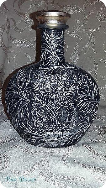 Благодаря идеям и авторской технике Татьяны Сорокиной  http://stranamasterov.ru/node/308701?tid=451 ,  я загорелась идеей создания подобных изделий. Вот самая первая бутылочка. Подойдёт для антуража к празднику Хэллоуина. фото 8