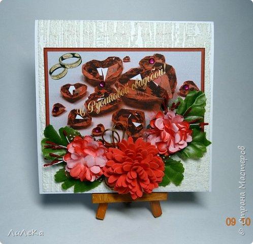 Несколько свадебных открыток, сделанных с применением бросового материала.  фото 16