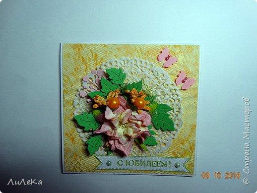 """Моя ученица попросила сделать открытку """"С юбилеем!"""". Сделала две. фото 4"""