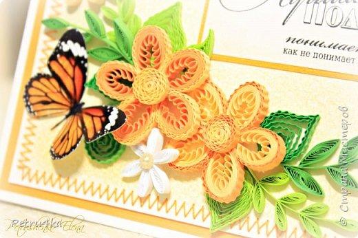 Добрый вечер дорогие мастерицы! Представляю свои новые открыточки, желаю приятного просмотра! Надеюсь, что они вам понравятся и кто то тоже увлечется квиллингом. Творите с удовольствием, теплом и любовью!!! Пожалуй, самое печальное изобретение человека – это готовые поздравительные открытки. Во времена, когда люди постоянно обменивались письмами открытки стали чем-то новым и оригинальным. И все было замечательно, пока человечество полностью не обленилось.В какой-то момент все стали дарить открытки абсолютно не задумываясь, ни о том кому она будет адресована, ни о своем отношении к этому человеку. Письма мы пишем в исключительно редких случаях, открытки покупаем с уже готовыми напечатанными текстами и в итоге потихоньку начинаем понимать, что поздравительная открытка перестала быть необходимой. Если она не вызывает восторг, так зачем на нее выбрасывать деньги. Таким образом, к сожалению, думают многие.А ведь открытки ни в чем не повинны. Они создавались, для того чтобы люди могли красиво выражать свои пожелания и намерения. Просто сейчас прогресс заполнил все сферы нашей жизни, не оставив места для проявления своих чувств. Но вы можете все изменить, для этого просто надо заняться рукоделием и созданием открыток, собственными руками. А день рождение близких людей является прекрасным поводом для этого.  фото 33