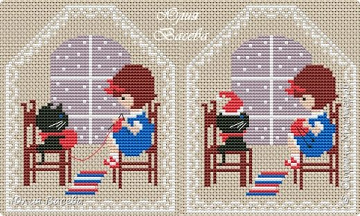 """""""Однажды вечером"""" - 2 отдельных новогодних пинкипа или две стороны одной игрушки. Размер каждой вышивки 57 х 70  крестиков, 7 основных цветов (палитра ДМС), крест, бекстич, канва Aida 14 лен, примерный размер 9 х 11 см. Кому понравится, схему можно взять у меня в альбоме https://fotki.yandex.ru/users/julia-vaseva/album/516364/  фото 1"""