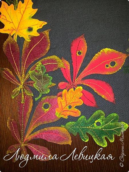 Наступила осень, и у меня родилась такая подушка... Применила разные техники. Я взяла темно-зеленый лен за основу, на котором разместила вышитые зеленые листья (они символизируют ушедшее лето) и осенние листья из фетра в виде аппликации... фото 13