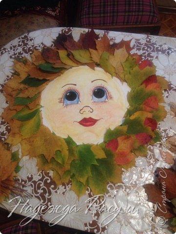 Солнце из листьев клена ( поделка в  детский сад ) фото 3