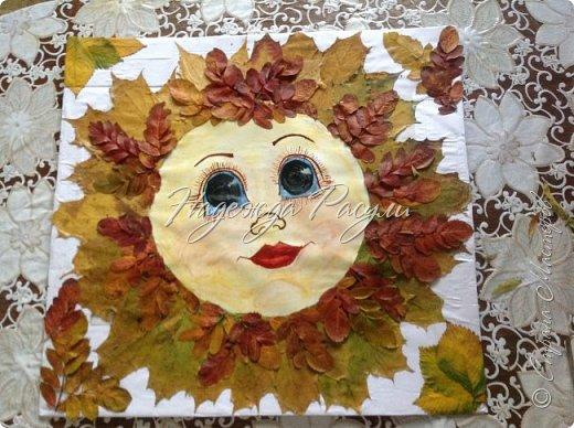 Солнце из листьев клена ( поделка в  детский сад ) фото 4