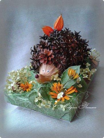 Здравствуйте! Сегодня я к вам с новой осенней поделкой. Такого замечательного ежика мы со Степаном сделали для конкурса. Использовали: шишки, физалис, сизаль, лыковое мочало, маленький каштан, кору дерева, колосья пшеницы, засушенные листья и цветы (гортензию, рудбекию, космею). фото 4