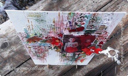 Очень захотелось сделать страничку в стиле микс медиа. Это моя первая страничка. Формат А4, бумага акварельная. Фото взяла новогодне-Рождественское, поэтому основные цвета красно-зеленые. фото 9
