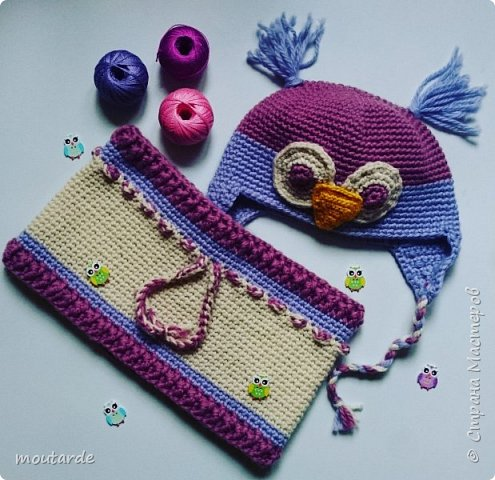 Снудик и шапка для девочки. Мой первый комплект в таком стиле. Было бы прекрасно сделать подклад)))