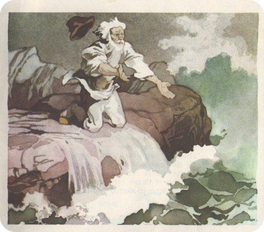 """Ремейк произведения А.С.Пушкина """"Сказка о рыбаке и рыбке"""".  Жил старик у самого синего моря.Ловил он неводом рыбу, тем и жил. Раз закинул он невод в воду - пришел невод с одной тиной. Он в другой раз закинул невод. Как вдруг... фото 6"""