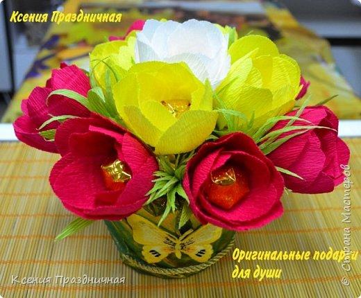 Цветочная композиция из конфет