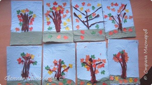 На улице осень, дождь и слякоть, а у нас в группе весело и интересно! Вот  такие осенние деревья мы делали со старшей группой.  фото 11