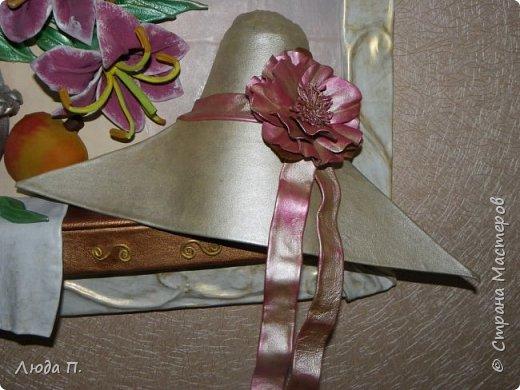 """Картина из кожи """"Натюрморт с лилиями"""" фото 3"""
