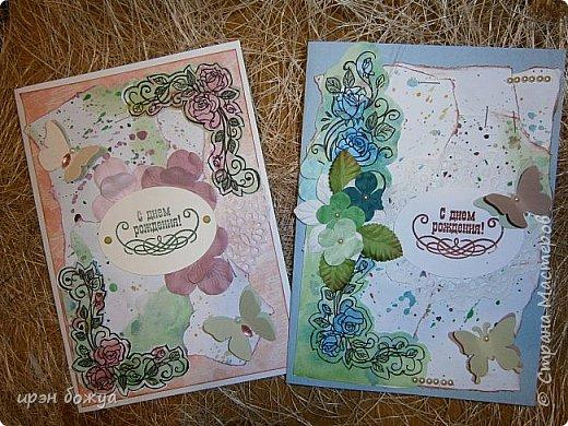 Сегодня я к Вам вот с такими открыточками. В работе использовала картинки, которые раскрасила акварелью и  отрисовала гелевой ручкой. В качестве фона использовала простую бумагу с набрызгом из тех же цветов, что использованы при раскрашивании картинки.Работать с акварелью очень понравилось. У меня есть работы с этим материалом (см. тут http://stranamasterov.ru/node/1041574  и здесь   http://stranamasterov.ru/node/1048915 ) фото 1