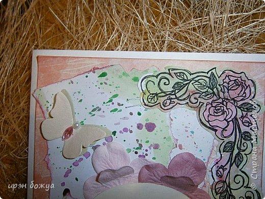 Сегодня я к Вам вот с такими открыточками. В работе использовала картинки, которые раскрасила акварелью и  отрисовала гелевой ручкой. В качестве фона использовала простую бумагу с набрызгом из тех же цветов, что использованы при раскрашивании картинки.Работать с акварелью очень понравилось. У меня есть работы с этим материалом (см. тут http://stranamasterov.ru/node/1041574  и здесь   http://stranamasterov.ru/node/1048915 ) фото 4