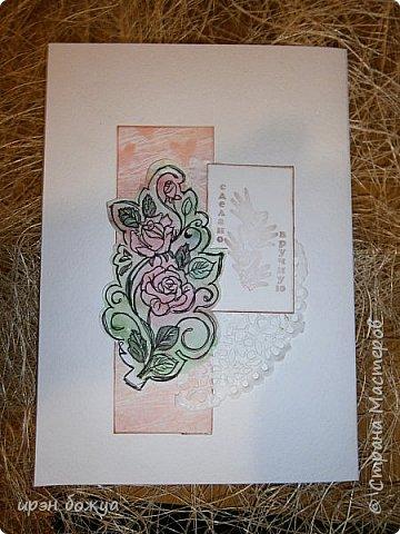 Сегодня я к Вам вот с такими открыточками. В работе использовала картинки, которые раскрасила акварелью и  отрисовала гелевой ручкой. В качестве фона использовала простую бумагу с набрызгом из тех же цветов, что использованы при раскрашивании картинки.Работать с акварелью очень понравилось. У меня есть работы с этим материалом (см. тут http://stranamasterov.ru/node/1041574  и здесь   http://stranamasterov.ru/node/1048915 ) фото 7