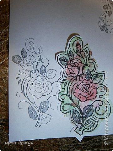 Сегодня я к Вам вот с такими открыточками. В работе использовала картинки, которые раскрасила акварелью и  отрисовала гелевой ручкой. В качестве фона использовала простую бумагу с набрызгом из тех же цветов, что использованы при раскрашивании картинки.Работать с акварелью очень понравилось. У меня есть работы с этим материалом (см. тут http://stranamasterov.ru/node/1041574  и здесь   http://stranamasterov.ru/node/1048915 ) фото 18
