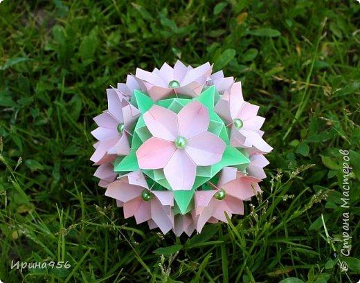 Основа - Little Turtle Tomoko Fuse 30 модулей 11х11 см. МК http://all-origami.livejournal.com/66074.html Цветы (автор Alexandra Abovyan), 12 шт., из 60 прямоугольных равнобедренных треугольников с гипотенузой 8,6 см. Видео https://www.youtube.com/watch?v=dkR-oEx5RZQ Размер - около 13 см. фото 10