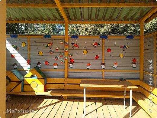 Осеннее оформление беседки в детском саду. фото 1