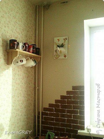 """Давно я затевалась с ремонтом на кухне, но все не могла придумать, что сделать с наружной стеной. Обои клеить не хотела, виделось что-то либо декоративная побелка, либо """"кирпичики"""".  фото 1"""