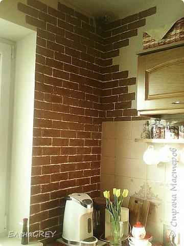 """Давно я затевалась с ремонтом на кухне, но все не могла придумать, что сделать с наружной стеной. Обои клеить не хотела, виделось что-то либо декоративная побелка, либо """"кирпичики"""".  фото 2"""