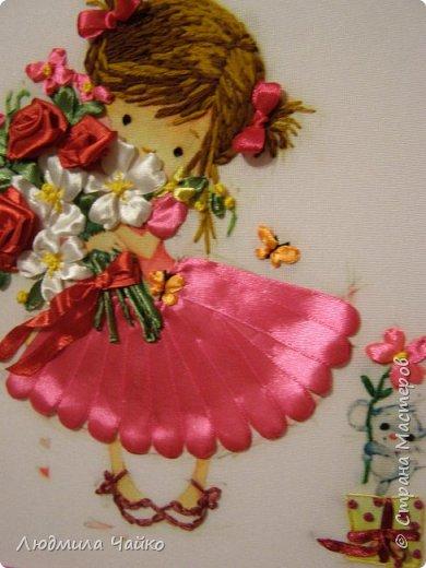 Вышивка по принту, работа сделана по МК Татьяны Соляниковой. Оформлено в двойную рамку, размер 24х22 фото 2