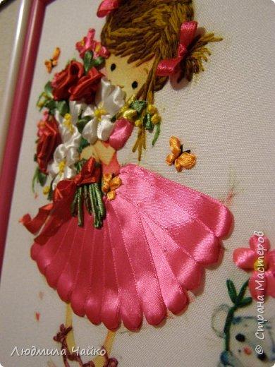 Вышивка по принту, работа сделана по МК Татьяны Соляниковой. Оформлено в двойную рамку, размер 24х22 фото 3