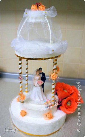 Давно ничего не делала:) вот наконец свадьба близкой подруги, решила сделать ей такой подарок:) Заготовки из пенопласта, гофрированная бумага, широкие коктейльные трубочки и деревянные шпажки (колонны), проволока, фатин и ленты с бусинами. фото 1