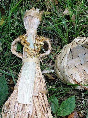 такая куколка родилась - Хозяйка леса - из травы-осоки основа, фартук - рогоз, аппликация на фартуке - вырубки кукурузного листа и листья тысячелистника, метла - осина, мятлик, фон - мои новые вырезалки по дубовым листьям, котомка - талаш фото 9