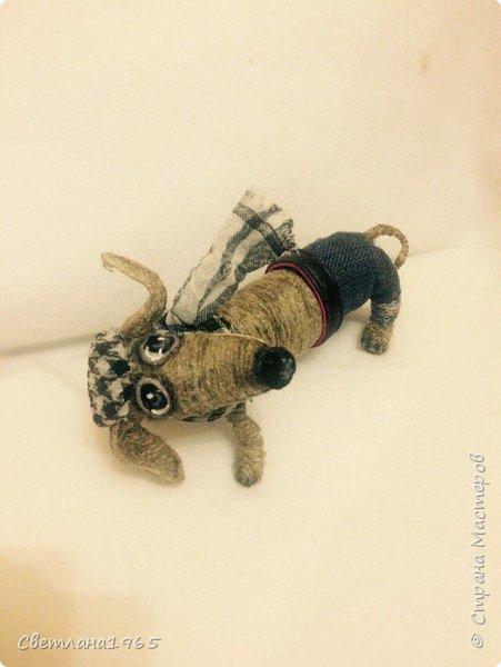 Здравствуйте!Собакин сделан на лампочке,обмотанной синтепоном,голова из синтепона,Шпагат из льна  фото 1