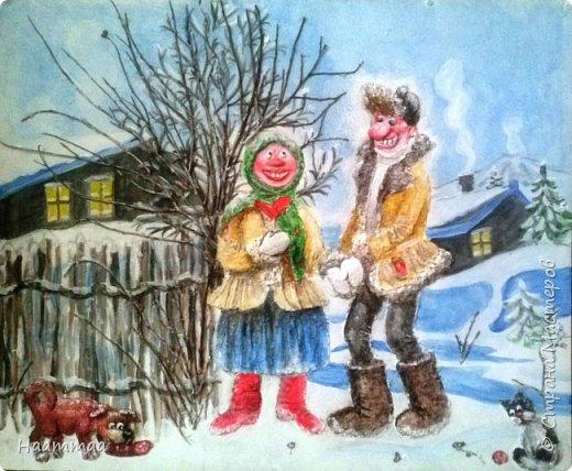 Идея из интернета, спасибо автору ) 40на 50, оргалит, фигуры из папье-маше, веточки-с улицы), роспись акрилом.